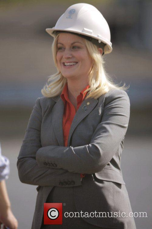 Amy Poehler on the set her new show...