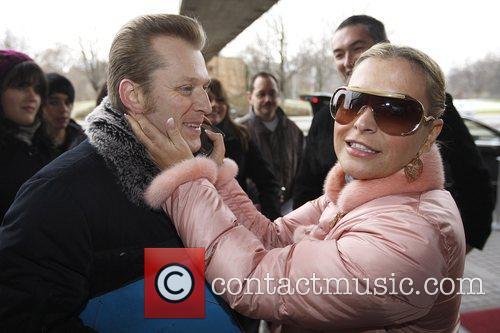 Singer Anastacia takes time to greet fans outside...