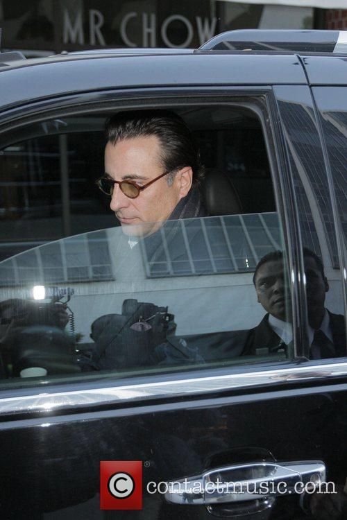 Andy Garcia leaving Mr Chow restaurant after having...