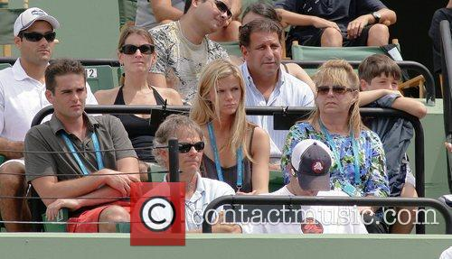 Brooklyn Decker, fiancee of Andy Roddick watches as...