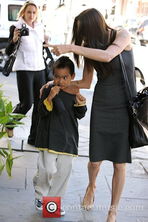 Angelina Jolie takes her son Madox to a...