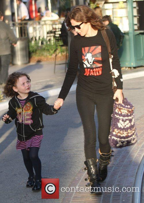 Anna Friel  taking her daughter out for...