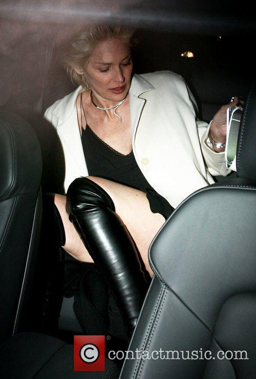 Sharon Stone leaving Annabel's Nightclub, looking tired, gaunt,...