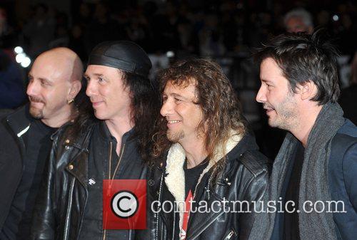Keanu Reeves with Anvil members Robb Reiner, Steve...