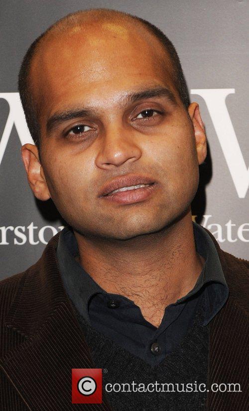 Aravind Adiga signs copies of his book 'The...