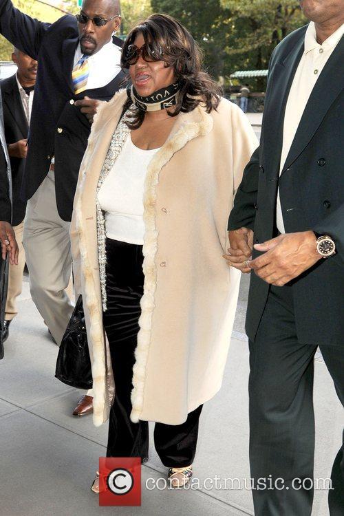 Arriving at her Manhattan hotel