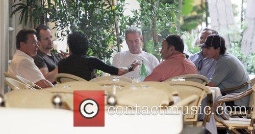 Governor Arnold Schwarzenegger has lunch with friends at...