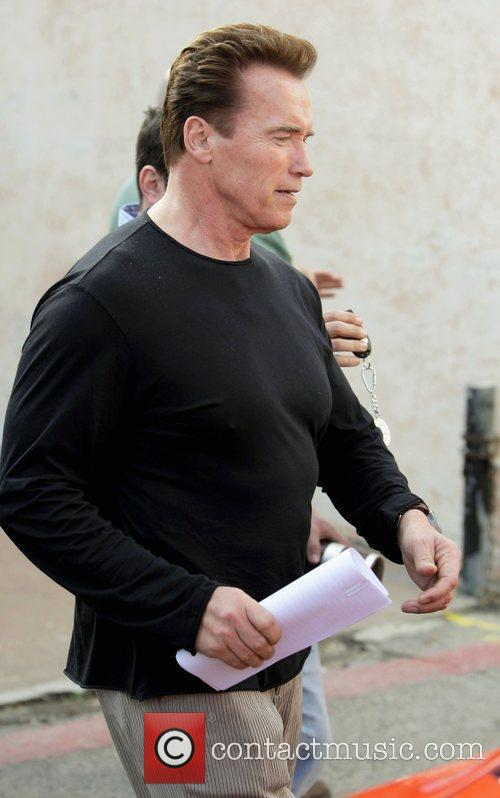 Arnold Schwarzenegger leaving Cafe Roma after having lunch....