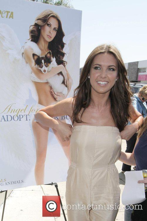 Audrina Partridge promotes her new PETA advert, 'Angel...