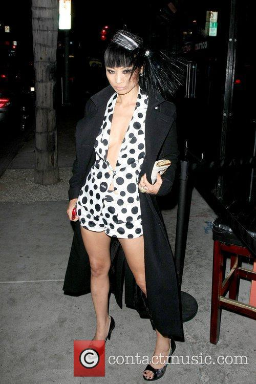 Outside Bar Delux while wearing a polka dot...