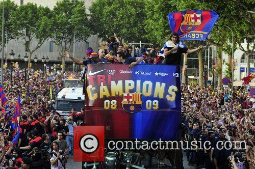 FC Barcelona celebrate their victory over Manchester United...