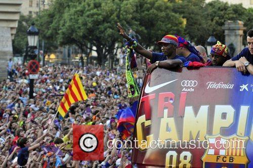 Samuel Eto'o FC Barcelona celebrate their victory over...