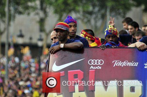 Samuel Eto'o and Thierry Henry FC Barcelona celebrate...