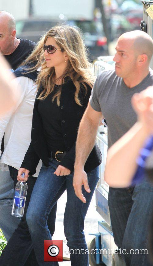 Jennifer Aniston on the film set of her...