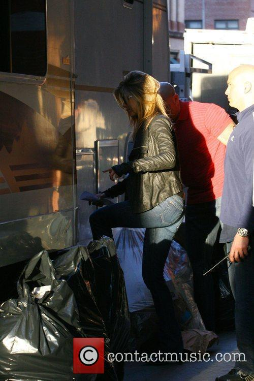Jennifer Aniston enters her trailer on the film...