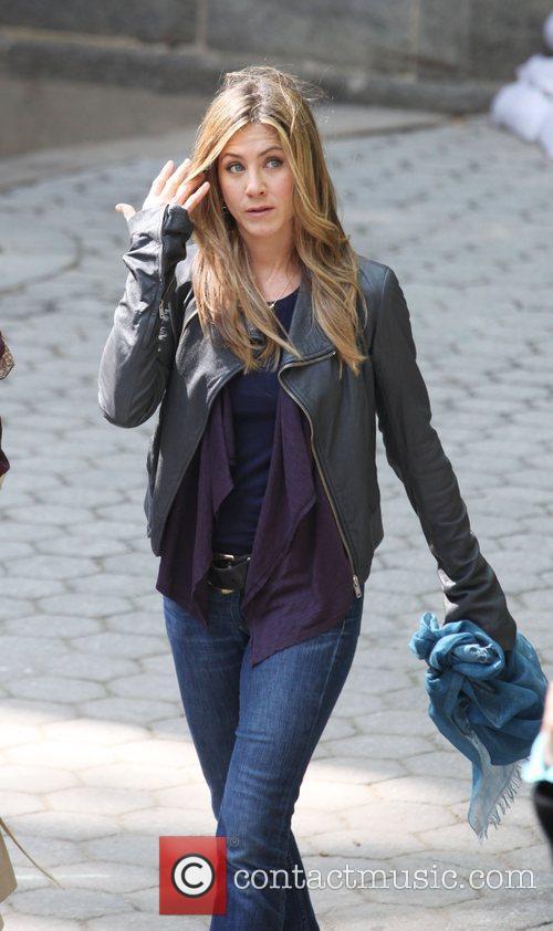 Jennifer Aniston on the set of her new...