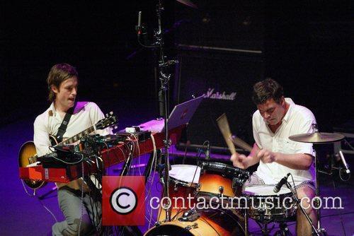 Ian Williams and John Stanier Battles performing at...