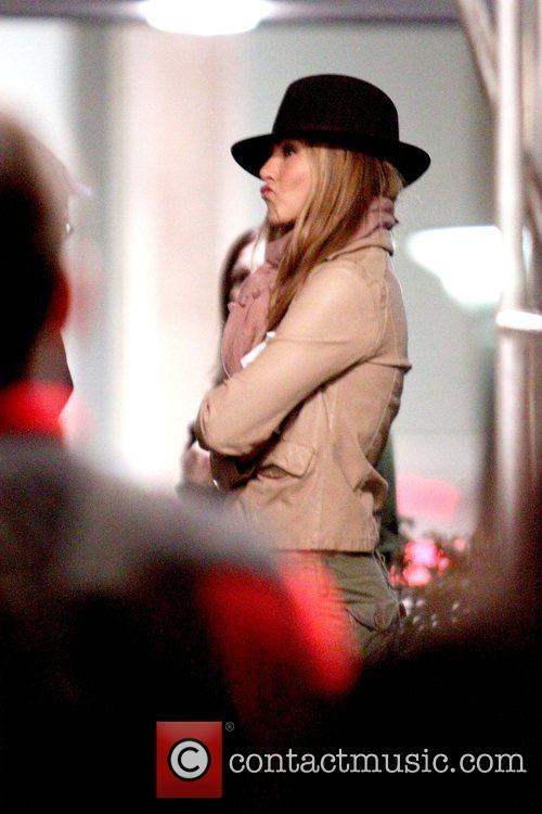 Jennifer Aniston  on the set of her...