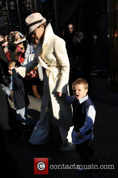 Victoria Beckham with sons Romeo Beckham and Cruz...