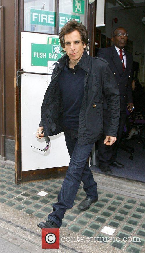 Ben Stiller leaving Radio One where he gave...