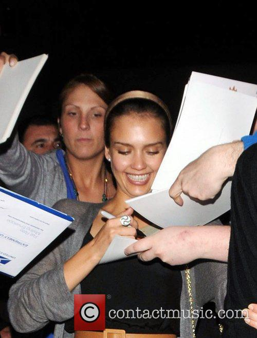 Jessica Alba signing autographs for fans outside Beso...