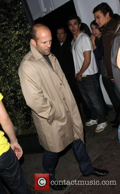 Jason Statham leaves Beso via the back door