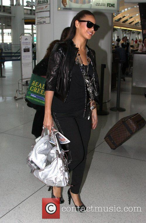 At JFK airport as she prepares to start...