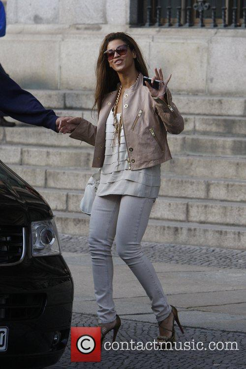 Beyonce Knowles visits the Berliner Dom cathedral during...