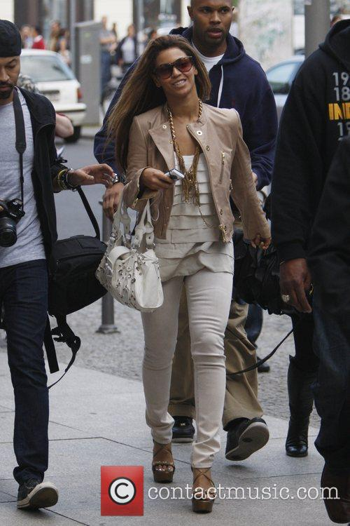 Beyonce Knowles walking back to her hotel at...