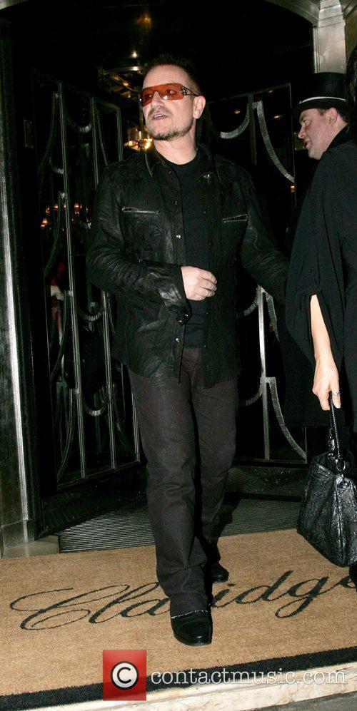 Bono leaving Claridges ahead of the BRIT awards...