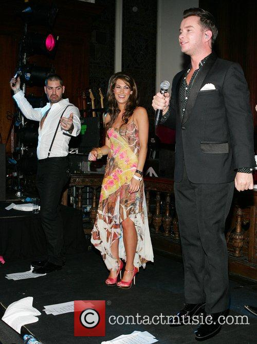 Rachel Loughman on stage with Stephen Gately of...