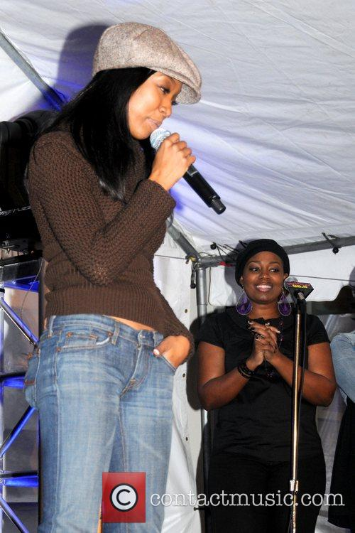 Brandy performs a special concert for radio station...