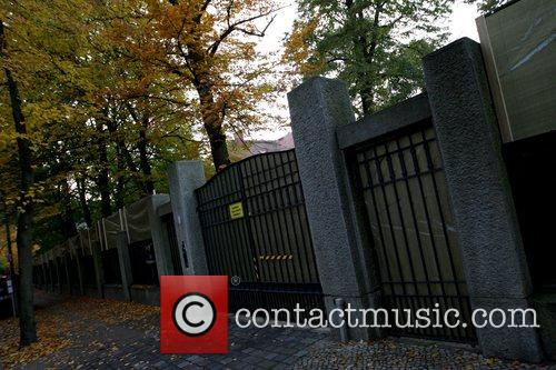 Gate at the lake Wannsee villa, rented by...