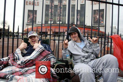 Fans cam outside Earls Court Arena ahead of...