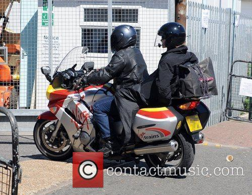 Amanda Holden arrives on motorcycle at the 'Britain's...
