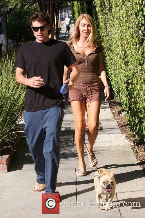 Brody Jenner walking his dog Bentley with his...