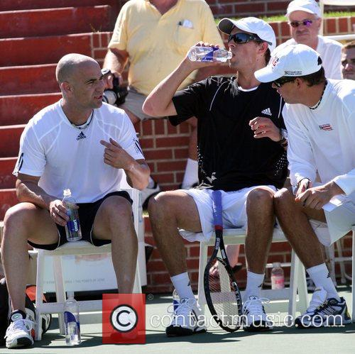 Andre Agassi with Mike and Bob Bryan All-Star...