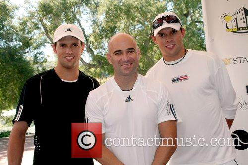 Mike and Bob Bryan with Andre Agassi All-Star...