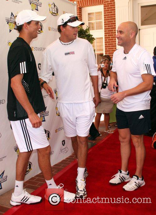 Mike and Rob Bryan with Andre Agassi All-Star...