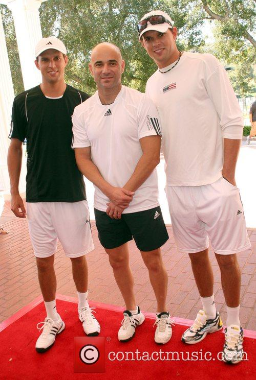 Mike Bryan, Andre Agassi and Bob Bryan All-Star...