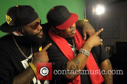 Rick Ross and Busta Rhymes shooting a music...