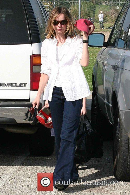 Calista Flockhart leaving a Brentwood park with her...