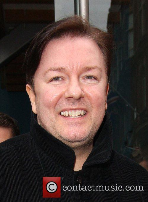 Ricky Gervais leaving Capital Radio studios in Leicester...