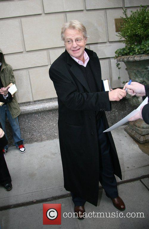 Jerry Springer leaving his hotel New York City,...