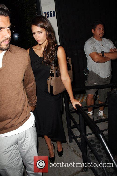 Cash Warren and Jessica Alba outside STK Restaurant...