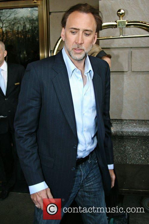 'Knowing' star Nicolas Cage leaving his Manhattan hotel