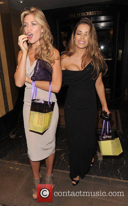 Abbey Clancy and Elen Rives leaving the Dorchester...