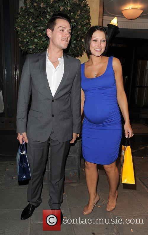 Matt Willis, his pregant wife Emma Griffiths leaving the Dorchester Hotel and having attended a party 1