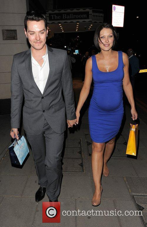 Matt Willis, his pregant wife Emma Griffiths leaving the Dorchester Hotel and having attended a party 2