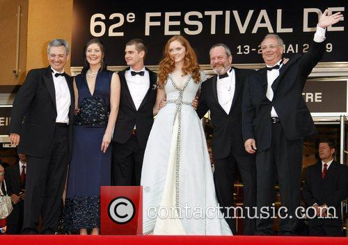 Andrew Garfield, Lily Cole and Terry Gilliam with...